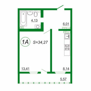 1к квартира 1А площадью 34,27 кв.м.
