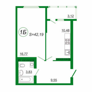 1к квартира 1Б площадью 42,19 кв.м.