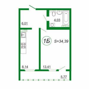 1к квартира 1Б площадью 34,39 кв.м.