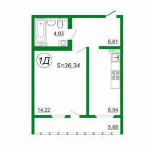 1к квартира 1Д площадью 36,34 кв.м.