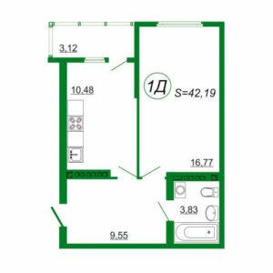 1к квартира 1Д площадью 42,19 кв.м.