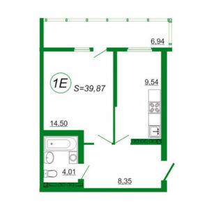 1к квартира 1Е площадью 39,87 кв.м.