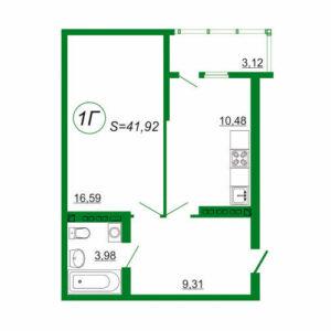 1к квартира 1Г площадью 41,92 кв.м.