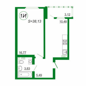 1к квартира 1И площадью 38,13 кв.м.