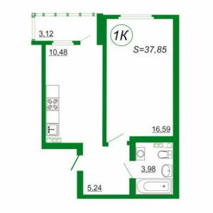 1к квартира 1К площадью 37,85 кв.м.