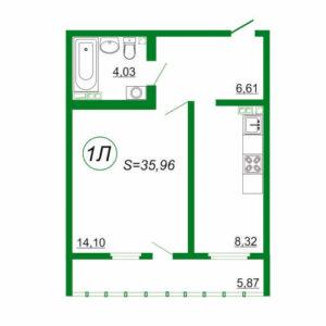1к квартира 1Л площадью 35,96 кв.м.