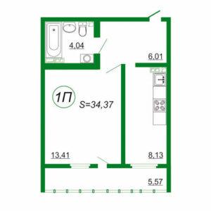 1к квартира 1П площадью 34,37 кв.м.