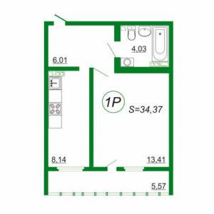 1к квартира 1Р площадью 34,37 кв.м.