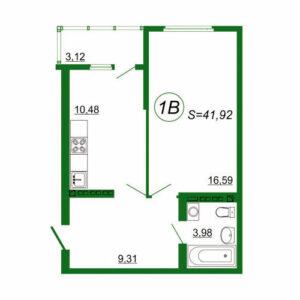 1к квартира 1В площадью 41,92 кв.м.
