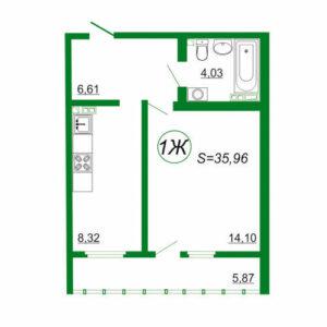 1к квартира 1Ж площадью 35,96 кв.м.