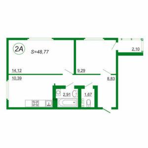 2к квартира 2А площадью 48,77 кв.м.