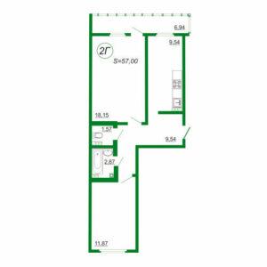 2к квартира 2Г площадью 57 кв.м.